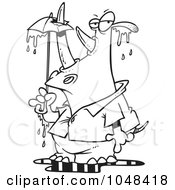 Royalty Free RF Clip Art Illustration Of A Cartoon Black And White Outline Design Of A Rhino Puncturing An Umbrella With His Horn by toonaday