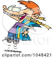 Cartoon Boy Squeezing A Gift