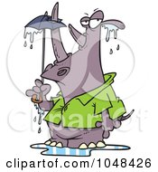 Royalty Free RF Clip Art Illustration Of A Cartoon Rhino Puncturing An Umbrella With His Horn by toonaday