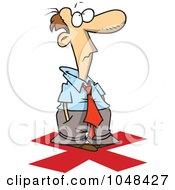 Royalty Free RF Clip Art Illustration Of A Cartoon Businessman Standing On An X
