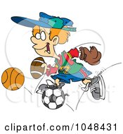Royalty Free RF Clip Art Illustration Of A Cartoon Sporty Boy With A Baseball Glove Basketball Football And Soccer Ball by toonaday
