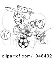 Royalty Free RF Clip Art Illustration Of A Cartoon Black And White Outline Design Of A Sporty Boy With A Baseball Glove Basketball Football And Soccer Ball by toonaday