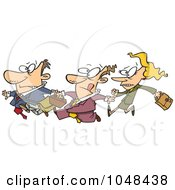 Royalty Free RF Clip Art Illustration Of A Cartoon Stampede Of Business People