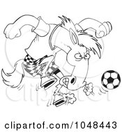 Cartoon Black And White Outline Design Of A Soccer Stallion