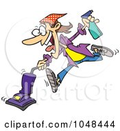 Royalty Free RF Clip Art Illustration Of A Cartoon Spring Cleaning Woman Vacuuming by toonaday