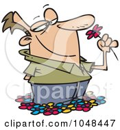 Royalty Free RF Clip Art Illustration Of A Cartoon Spring Bliss Man Smelling Flowers