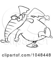 Cartoon Black And White Outline Design Of An Elephant Exiting Stage Left
