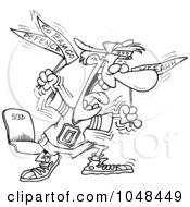 Royalty Free RF Clip Art Illustration Of A Cartoon Black And White Outline Design Of A Crazy Sports Fan by toonaday