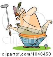 Royalty Free RF Clip Art Illustration Of A Cartoon Spring Golfer Smelling The Air by toonaday