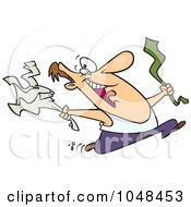 Royalty Free RF Clip Art Illustration Of A Cartoon Happy Man Ripping Off His Business Clothes For Spring Break