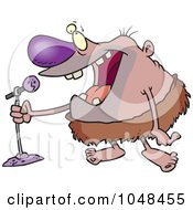Royalty Free RF Clip Art Illustration Of A Cartoon Stand Up Comedian Caveman by toonaday