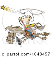 Royalty Free RF Clip Art Illustration Of A Cartoon Cowboy Trying To Catch A Star