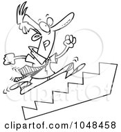 Royalty Free RF Clip Art Illustration Of A Cartoon Black And White Outline Design Of A Businessman Running Up Stairs