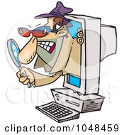 Royalty Free RF Clip Art Illustration Of A Cartoon Spyware Man Popping Out Of A Computer