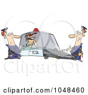 Royalty Free RF Clip Art Illustration Of Cartoon Cops With A Robber In A Squad Car by toonaday
