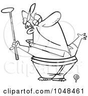Royalty Free RF Clip Art Illustration Of A Cartoon Black And White Outline Design Of A Spring Golfer Smelling The Air