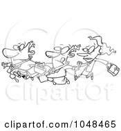 Royalty Free RF Clip Art Illustration Of A Cartoon Black And White Outline Design Of A Stampede Of Business People
