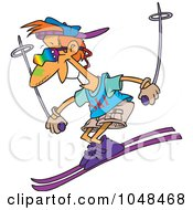 Royalty Free RF Clip Art Illustration Of A Cartoon Cool Skiing Guy