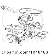 Royalty Free RF Clip Art Illustration Of A Cartoon Black And White Outline Design Of A Cowboy Trying To Catch A Star