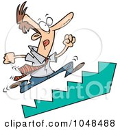 Royalty Free RF Clip Art Illustration Of A Cartoon Businessman Running Up Stairs