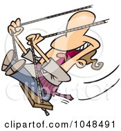 Royalty Free RF Clip Art Illustration Of A Cartoon Happy Businessman Swinging