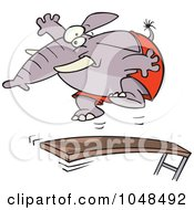 Royalty Free RF Clip Art Illustration Of A Cartoon Elephant Jumping On A Diving Board