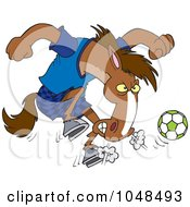 Royalty Free RF Clip Art Illustration Of A Cartoon Soccer Stallion by toonaday