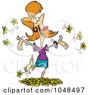 Royalty Free RF Clip Art Illustration Of A Cartoon Woman Playing In Spring Flowers