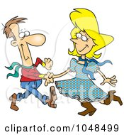 Royalty Free RF Clip Art Illustration Of A Cartoon Square Dancing Couple by toonaday