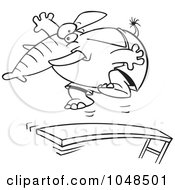 Cartoon Black And White Outline Design Of An Elephant Jumping On A Diving Board