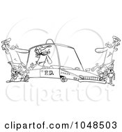 Royalty Free RF Clip Art Illustration Of A Cartoon Black And White Outline Design Of A Cops With A Robber In A Squad Car by toonaday