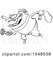 Royalty Free RF Clip Art Illustration Of A Cartoon Black And White Outline Design Of A Robber Using A Flashlight by toonaday