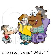 Royalty Free RF Clip Art Illustration Of A Cartoon Woman Reading A Book To A Boy And Girl At Story Time