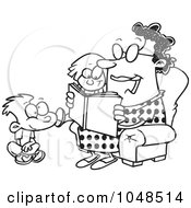 Royalty Free RF Clip Art Illustration Of A Cartoon Black And White Outline Design Of A Woman Reading A Book To A Boy And Girl At Story Time