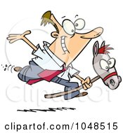 Royalty Free RF Clip Art Illustration Of A Cartoon Businessman Riding A Stick Pony by toonaday