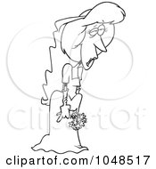 Cartoon Black And White Outline Design Of A Deserted Bride