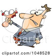 Royalty Free RF Clip Art Illustration Of A Cartoon Businessman Squeezing A Stress Toy