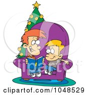 Royalty Free RF Clip Art Illustration Of A Cartoon Boy Reading A Christmas Story To His Little Brother
