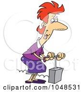 Royalty Free RF Clip Art Illustration Of A Cartoon Stressed Woman Using A Detonator by toonaday