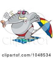 Cartoon Beach Elephant Stretching