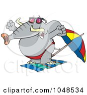 Royalty Free RF Clip Art Illustration Of A Cartoon Beach Elephant Stretching by toonaday