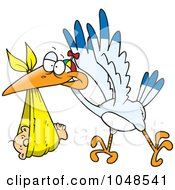 Royalty Free RF Clip Art Illustration Of A Cartoon Stork Delivering A Baby In A Blanket by toonaday
