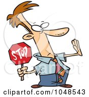 Royalty Free RF Clip Art Illustration Of A Cartoon Stopping Businessman by toonaday