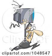 Royalty Free RF Clip Art Illustration Of A Cartoon Robber Stealing A TV