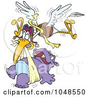 Royalty Free RF Clip Art Illustration Of A Cartoon Stork Delivering A Baby Hippo by toonaday