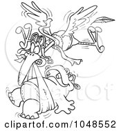 Royalty Free RF Clip Art Illustration Of A Cartoon Black And White Outline Design Of A Stork Delivering A Baby Hippo by toonaday