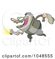 Royalty Free RF Clip Art Illustration Of A Cartoon Robber Using A Flashlight by toonaday