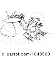 Royalty Free RF Clip Art Illustration Of A Cartoon Black And White Outline Design Of A Stork Carrying A Bundle