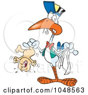 Royalty Free RF Clip Art Illustration Of A Cartoon Stork Holding A Crying Baby by toonaday