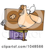 Cartoon Guy Being Punished In The Stocks